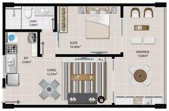 Planta baixa do apartamento 1 quarto com 45,38 m² de 109 à 1409 do 5.ª Avenida Residence