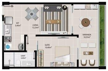 Planta baixa do apartamento 1 quarto de 110 à 1410 do 5.ª Avenida Residence