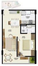 Planta baixa do apartamento quarto e sala, Tipo C com 45,45m² do Ondina Choice Residence
