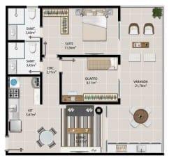 Planta baixa do apartamento 2 quartos de 107 à 1407 de 68,94 m² do 5.ª Avenida Residence