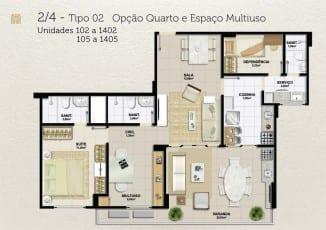 Planta baixa - 2 quartos - Tipo 02 - Opção Quarto e Espaço Multiuso