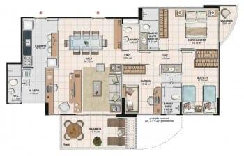 Planta baixa do apartamento 3 quartos com home office da Torre Cezanne, colunas 02 e 03 do Art Residence