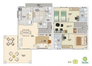 Planta baixa - 3 quartos com Pavimento Inferior - Tipo 02 e Pavimento Superior - Tipo 02