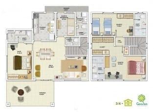 Planta baixa - 3 quartos com Pavimento Inferior - Tipo 03 e Pavimento Superior - Tipo 03