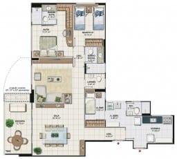 Planta baixa do apartamento 3 quartos com sala ampliada da Torre Cezanne, colunas 01 e 04 do Art Residence