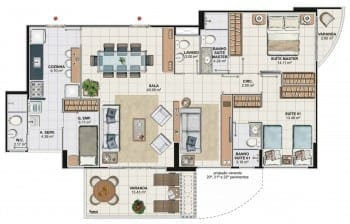 Planta baixa do apartamento 3 quartos com sala ampliada da Torre Cezanne, colunas 02 e 03 do Art Residence