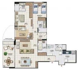 Planta baixa do apartamento 3 quartos com suíte ampliada da Torre Cezanne, colunas 01 e 04 do Art Residence