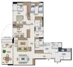 Planta baixa apartamento 3 quartos da Torre Cezanne com 116,13 M2 do 1º ao 19º pavimento, colunas 02 e 03 do Art Residence