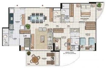 Planta baixa apartamento 3 quartos da Torre Cezanne com 120,48 M2 do 1º ao 19º pavimento, colunas 02 e 03 do Art Residence