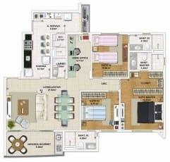 Planta baixa do apartamento 3 quartos, todos suítes com Home Office - 113,77 m²
