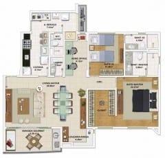 Planta baixa do apartamento 3 quartos, todos suítes, opção de planta por Cristina Chaves - 113,77 m²