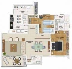 Planta baixa do apartamento 3 quartos, todas suítes, opção de planta por José Marcelino - 113,77 m²