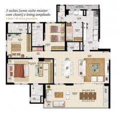 Planta baixa - 3 suítes, sendo uma master com closet e living ampliado com 146m2 do empreendimento