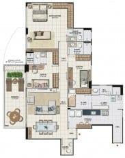 Planta baixa do apartamento 4 quartos com suíte ampliada, colunas 01 e 04