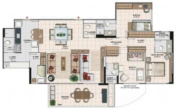 Planta baixa do apartamento 4 quartos com sala ampliada, colunas 02 e 03 da Torre Monet do Art Residence