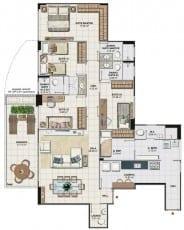 Planta baixa do apartamento 4 quartos com 143,99 M2 da Torre Monet, 1º ao 18º pavimento, colunas 01 e 04 do Art Residence