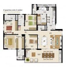 Planta baixa - 4 quartos com 146m2 de área privativa