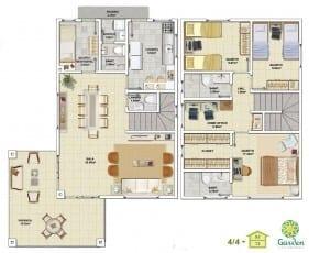 Planta baixa - 4 quartos com Pavimento Inferior - Tipo 02 e Pavimento Superior - Tipo 02