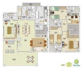 Planta baixa - 4 quartos com Pavimento Inferior - Tipo 03 e Pavimento Superior - Tipo 03