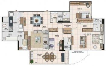 Planta baixa do apartamento 4 quartos com suíte ampliada da Torre Monet, colunas 02 e 03 do Art Residence