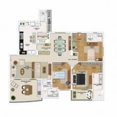 Planta baixa do apartamento 4 quartos, todos suítes, opção de planta por Eliane Kruschewsky - 155,95 m²