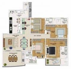 Planta baixa do apartamento de quartos, todas suítes e opção padrão com Home Office com 155,95m² de área privativa.
