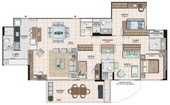 Planta baixa do apartamento 4 quartos da Torre Monet, colunas 02 e 03 do Art Residence