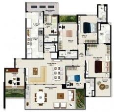 Planta baixa - Apartamento Tipo 01 - Coluna 01 - 183m2 do empreendimento.