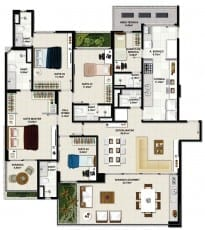 Planta baixa - Apartamento Tipo 01 - Coluna 02 - 170m2 do empreendimento