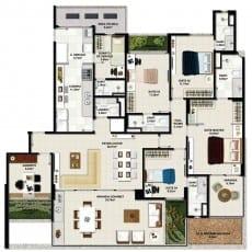 Planta baixa - Apartamento Tipo 02 - Coluna 01 - 190m2 do empreendimento.