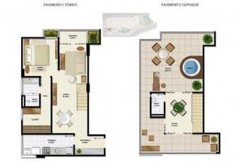 Planta baixa do apartamento cobertura B com 113,19m² do Ondina Choice Residence
