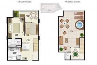 Planta baixa do apartamento cobertura C1 com 93,55m² do Ondina Choice Residence