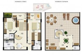 Planta baixa do apartamento cobertura D com 149,24m² do Ondina Choice Residence