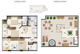 Planta baixa do apartamento cobertura D1 com 154,6m² do Ondina Choice Residence