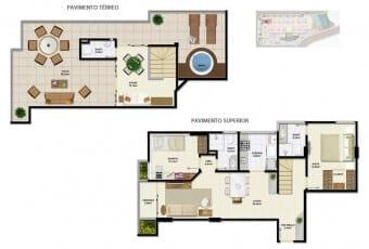 Planta baixa do apartamento Cobertura E com 139,17m² do Ondina Choice Residence