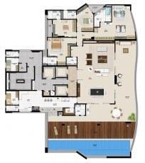 Planta baixa do apartamento cobertura do empreendimento.