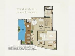 Planta baixa da cobertura de luxo com 377m² Pavimento Superior do Hemisphere 360º