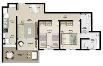 Planta baixa da unidade GARDEN 69,72m2 e apartamentos 002 e 003