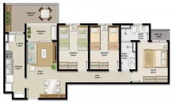 Planta baixa da unidade GARDEN 79,00m2 e apartamentos 006 e 007