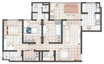 Planta baixa do empreendimento, com 3 quartos e 81m2
