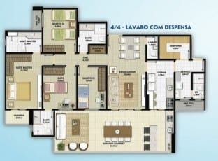 Planta Baixa do empreendimento Altavista Patamares, com 4 quartos e lavabo com despensa, no bairro de Patamares.