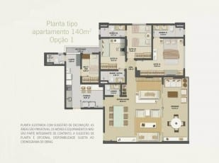Planta baixa do apartamento 140m² - Opção 01 do Hemisphere 360º
