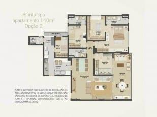 Planta baixa do apartamento 140m² - Opção 02 do Hemisphere 360º