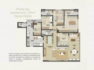 Planta baixa do apartamento 140m² - Opção Padrão do Hemisphere 360º