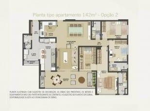 Planta baixa do apartamento 142m² - Opção 02 do Hemisphere 360º