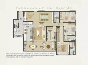 Planta baixa do apartamento 142m² - Opção Padrão do Hemisphere 360º