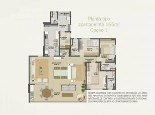 Planta baixa do apartamento 165m² - Opção 01 do Hemisphere 360º