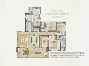 Planta baixa do apartamento 165m² - Opção 02