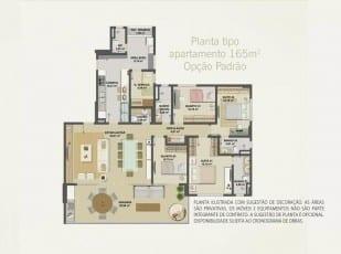 Planta baixa do apartamento 165m² - Opção Padrão do Hemisphere 360º