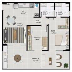 Planta baixa do apartamento 2 quartos de 111 a 1411 do 5.ª Avenida Residence
